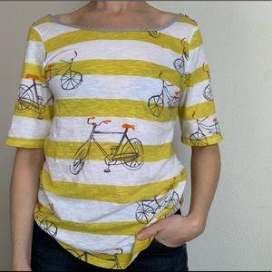 Anthropologie postmark bicycle print boat neck tee